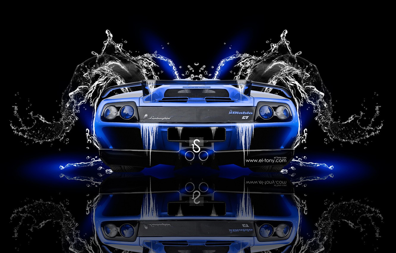 Wallpaper Water Black Blue Lamborghini Neon Style Wallpaper