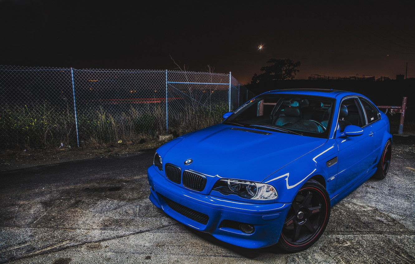 Photo wallpaper BMW, Blue, Night, E46, M3
