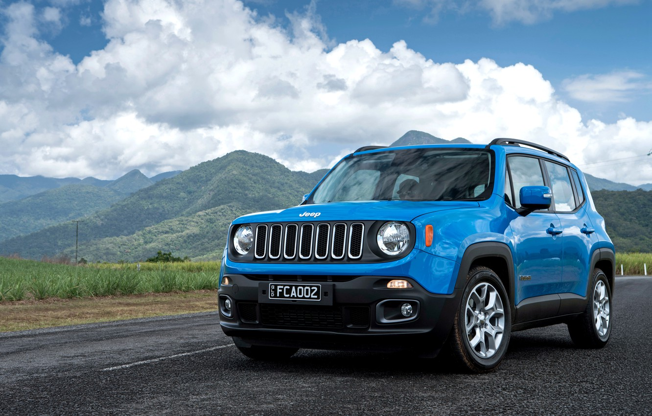 Photo wallpaper the sky, clouds, mountains, jeep, Jeep, Renegade, renegade