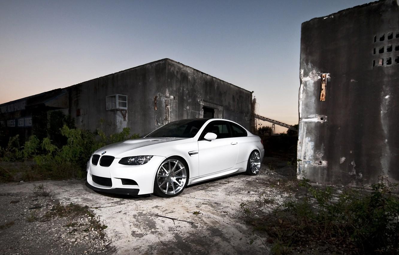 Photo wallpaper white, bmw, BMW, white, wheels, twilight, e92