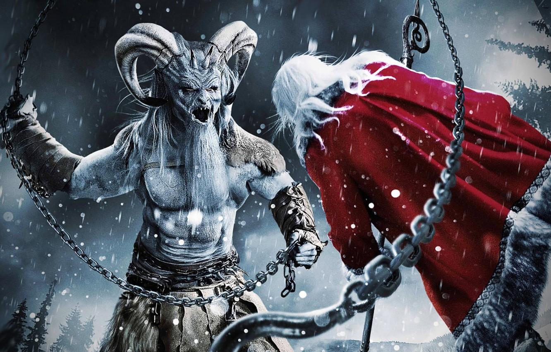 Christmas Horror Story Krampus.Wallpaper Christmas The Demon Horns Santa Claus
