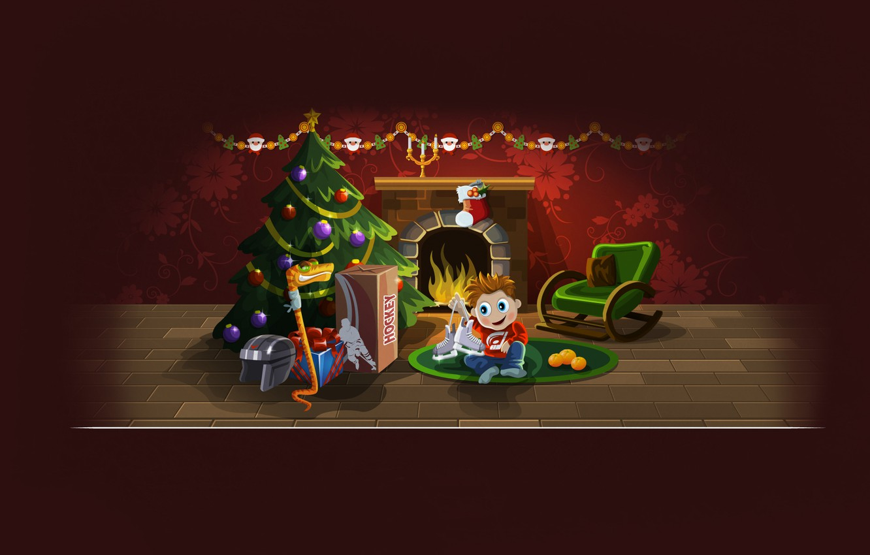 Photo wallpaper tree, new year, Christmas, snake, boy, gifts, helmet, fireplace, new year, hockey, skates, merry christmas, ...