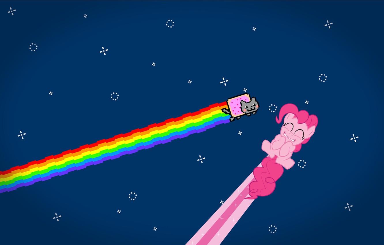 Photo wallpaper cat, stars, rainbow, anime, nyan cat, pinkie pie