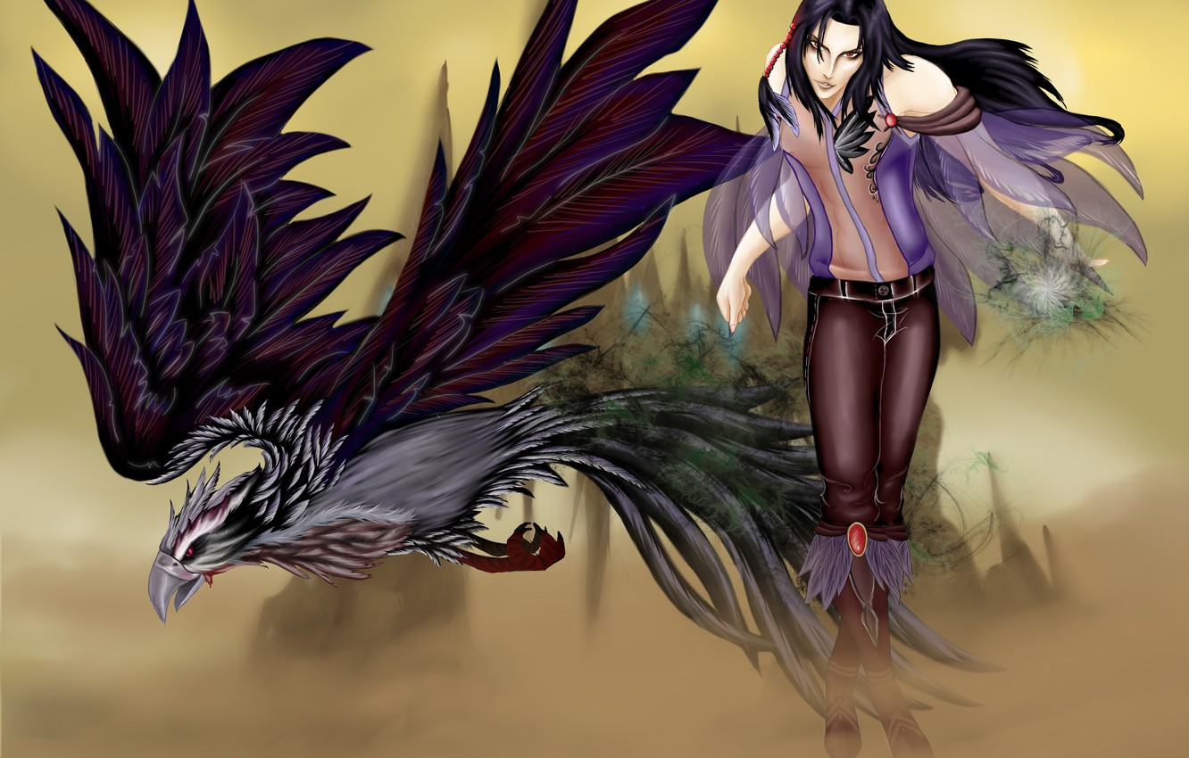 Photo wallpaper bird, the game, art, guy, AION, Lord Consid