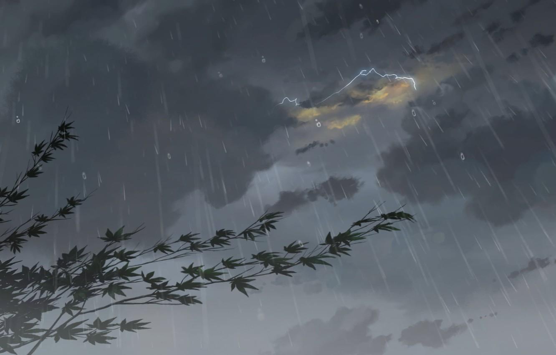 Photo wallpaper Drops, Rain, Clouds, The storm, Anime, Clouds, Makoto Xingkai, Anime, Maple, Rain, Fog, Drops, The …