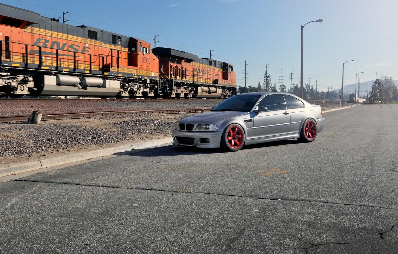 Photo wallpaper bmw, BMW, train, silver, red, drives, silvery, e46, power line
