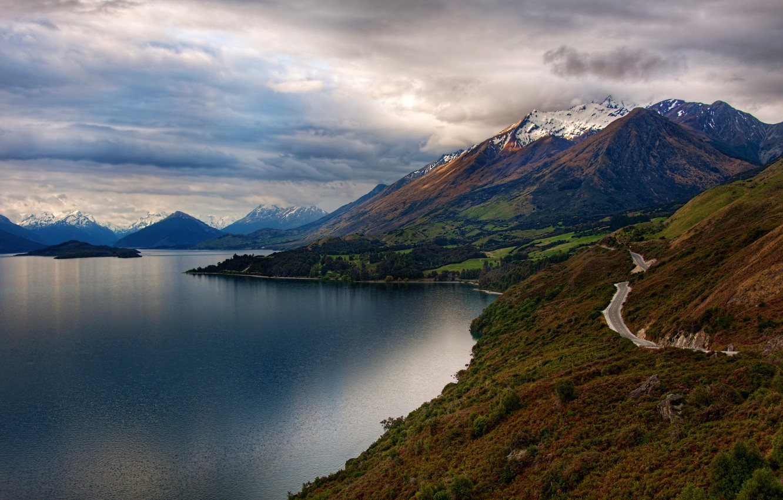 Photo wallpaper road, snow, trees, landscape, mountains, nature, lake, island, New Zealand, New Zealand