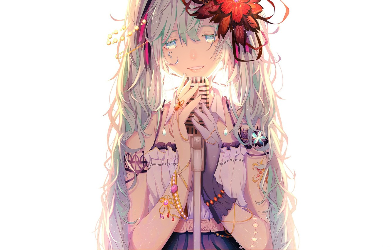 Photo wallpaper flower, tears, white background, beads, bracelet, microphone, blue eyes, vocaloid, Hatsune Miku, glove, long hair, …
