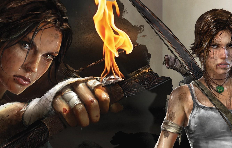Photo wallpaper water, rain, fire, Mike, bow, dirt, pendant, headband, arrow, shotgun, survivor, lara, tombs, the raider, …