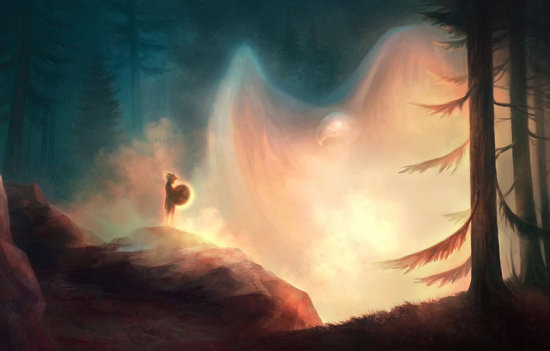 Photo wallpaper forest, bird, people, spirit, art, eagle, shaman