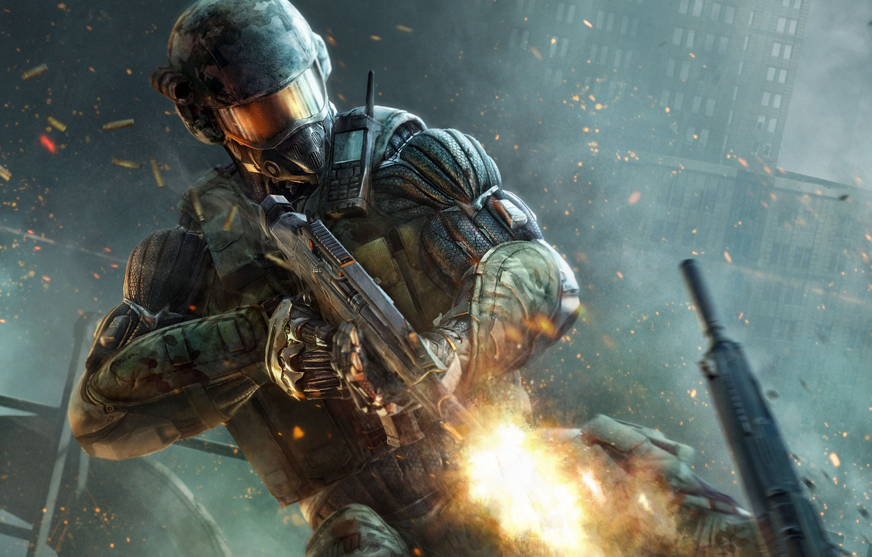 Photo wallpaper The city, Fire, Battle, Machine, Crysis 2, Crisis, Crytek