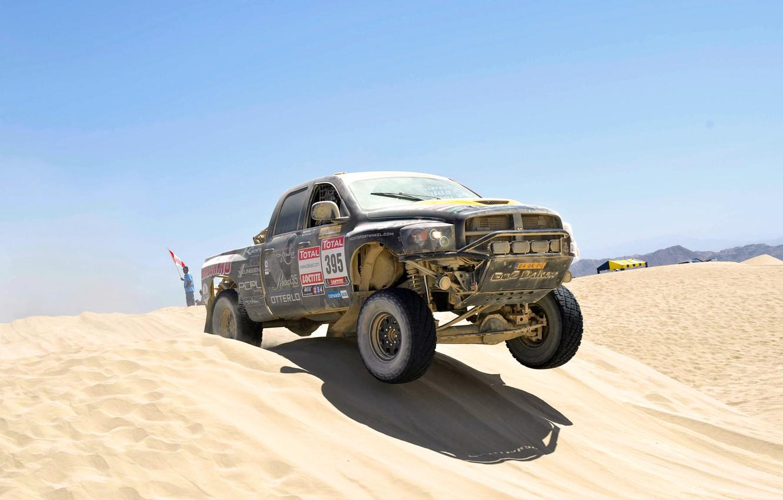 Photo wallpaper Sand, Auto, Sport, Desert, Machine, Dodge, Race, Day, Jeep, Heat, Rally, Dakar, SUV, Rally, Dune, …