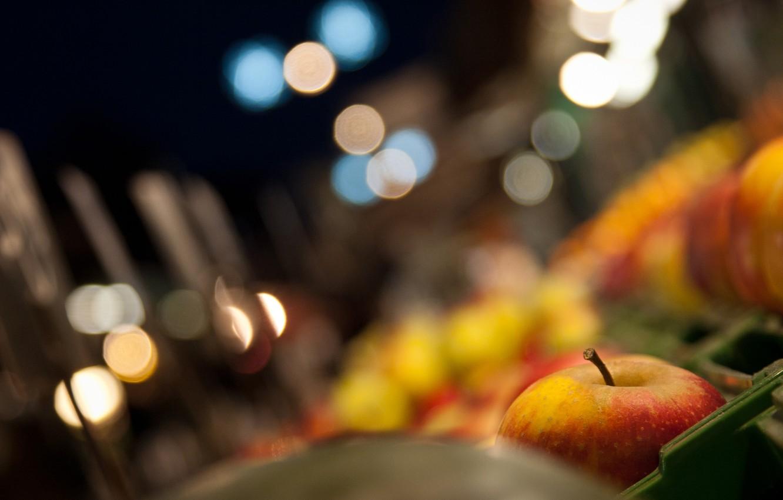 Photo wallpaper glare, Apple, food, fruit, basket, bokeh