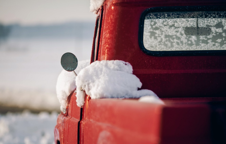 Photo wallpaper machine, snow, mirror