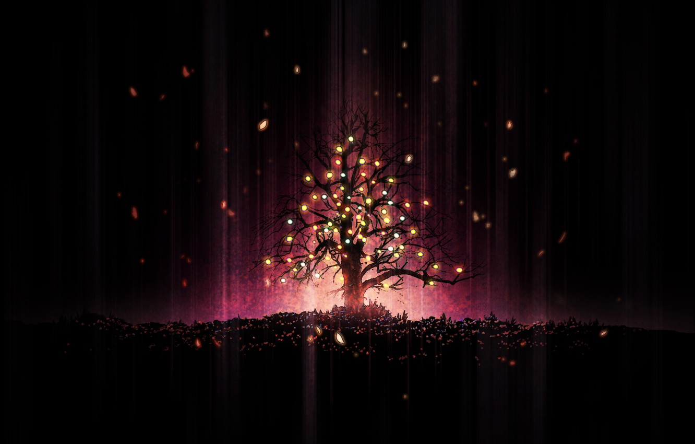 Photo wallpaper lights, tree, holiday