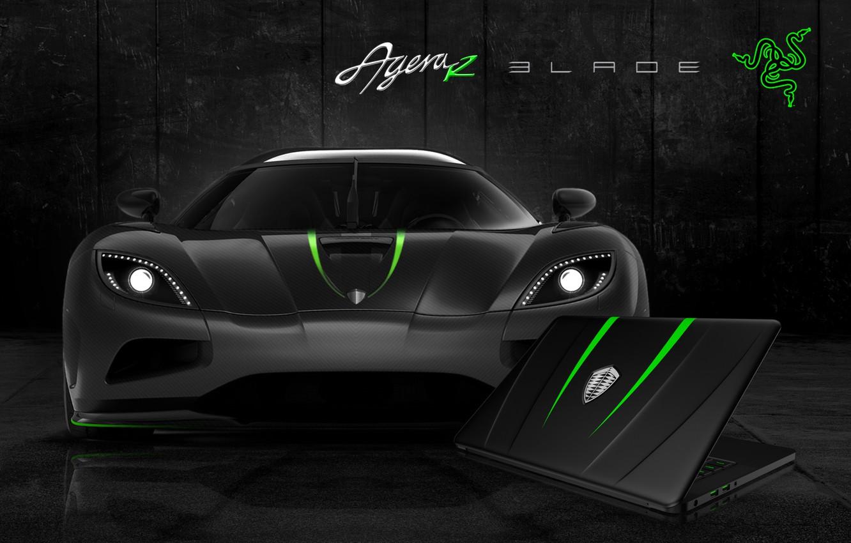 Photo wallpaper Auto, Green, Black, White, Wallpaper, Hi-Tech, Razer Blade, Koenigsegg Agera R