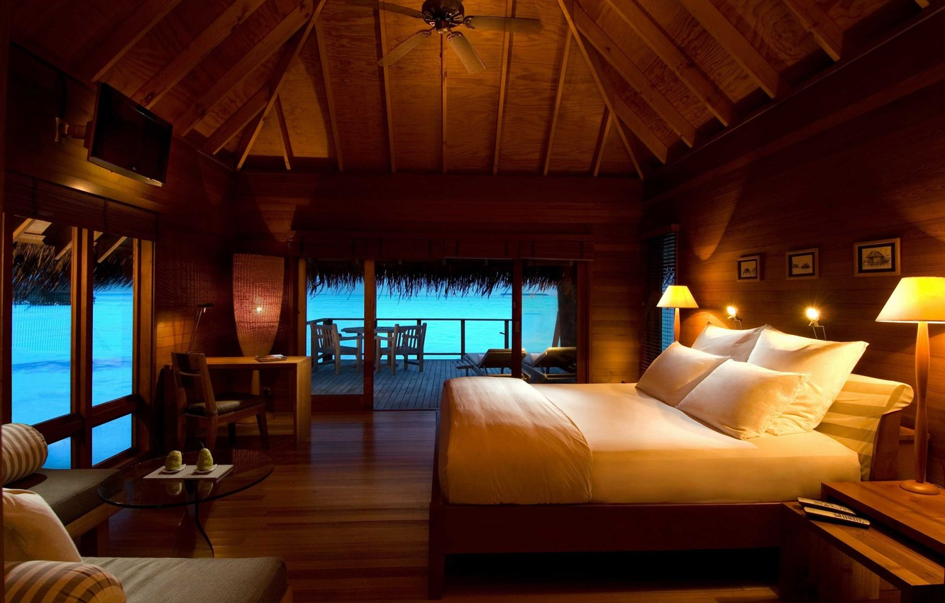 Photo wallpaper sea, stay, bed, pillow, Bungalow, lamps