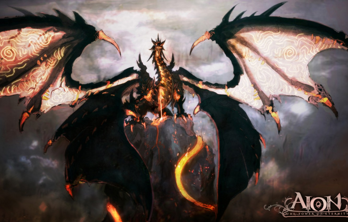 Photo wallpaper dragon, wings, lava, AION, mmorpg, the tower of eternity