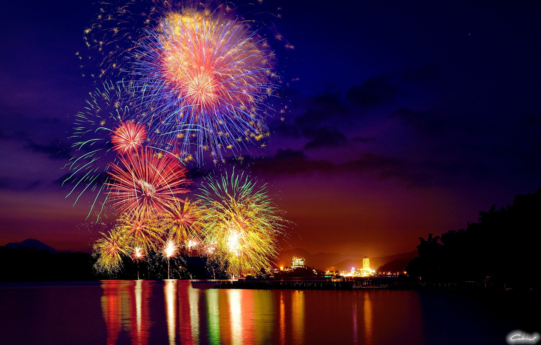 Photo wallpaper night, the city, lights, lake, salute, fireworks