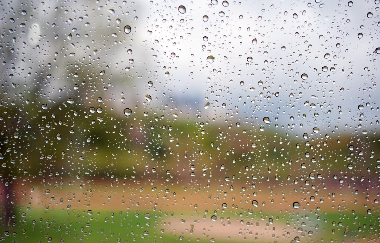 Photo wallpaper glass, water, drops, macro, Rain
