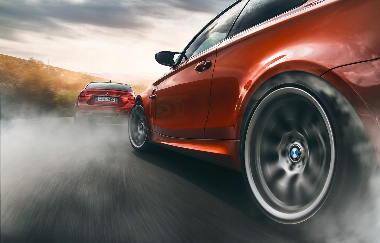 Photo wallpaper BMW, Orange, Car, Smoke, Sport, Wheels, Drifting
