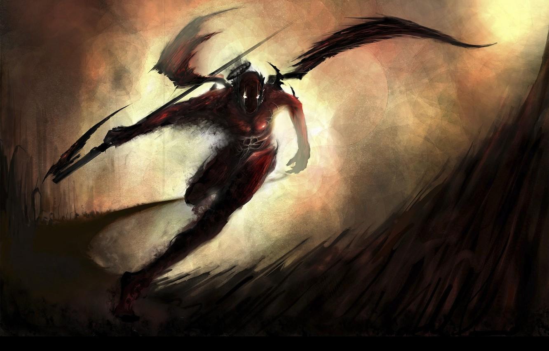 Photo wallpaper Running, Wings, Darkness, Braid