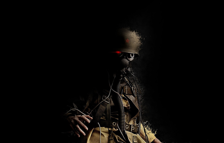 Photo wallpaper star, soldiers, gas mask, helmet, trunk, Trooper, red eye