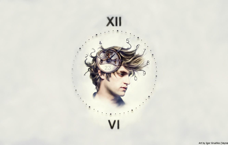 Photo wallpaper Time, Watch, Portrait, Steampunk, Mind, Destruction