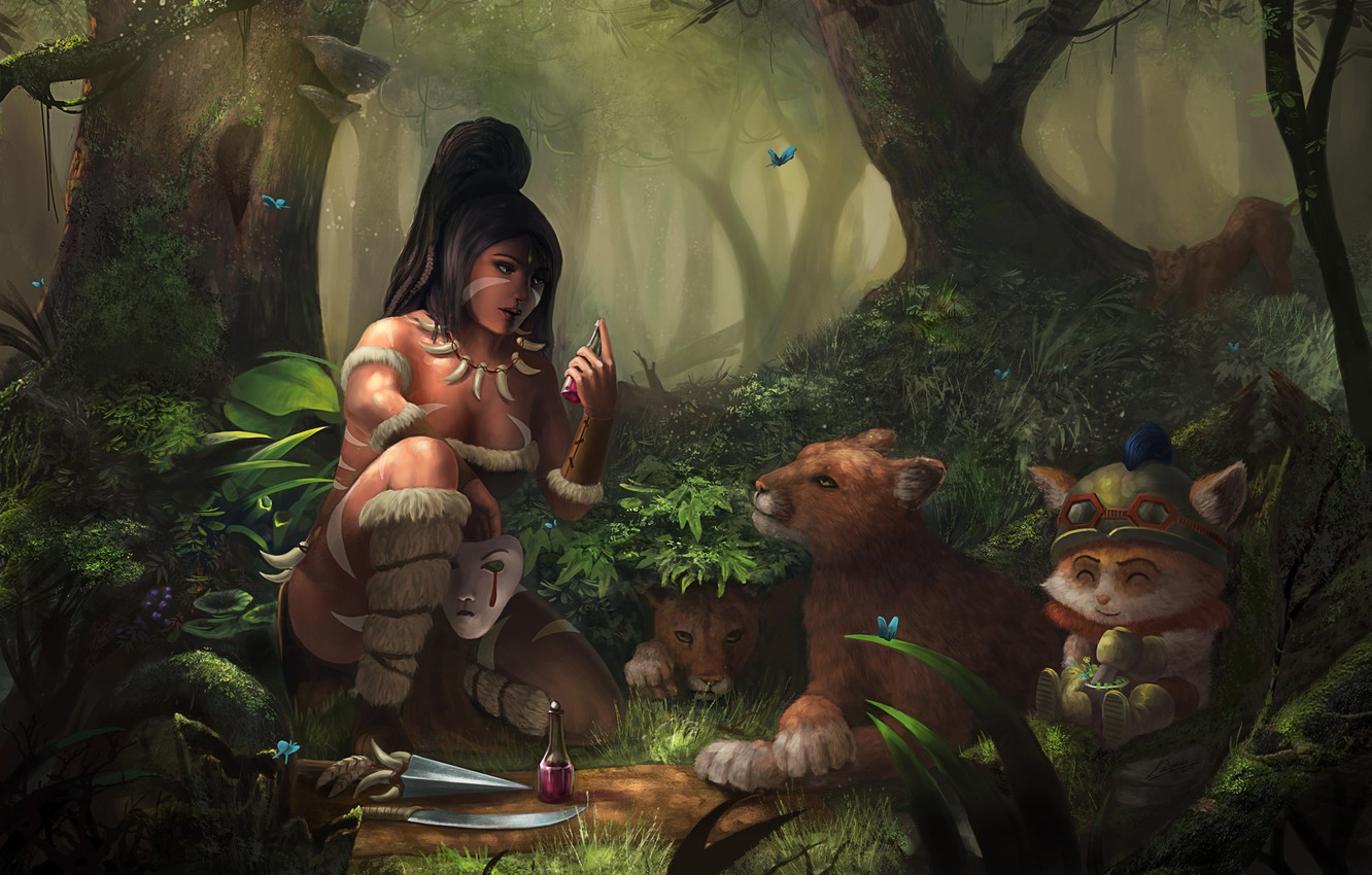 Photo wallpaper forest, girl, butterfly, cats, animals, mask, art, the bushes, swords, bubble, potion, Nidalee, League of …