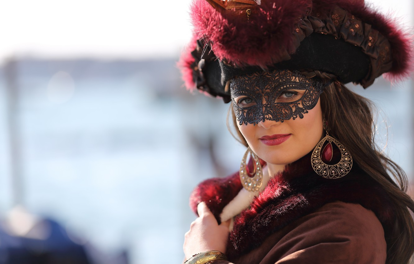 Photo wallpaper look, girl, style, mask, costume, carnival