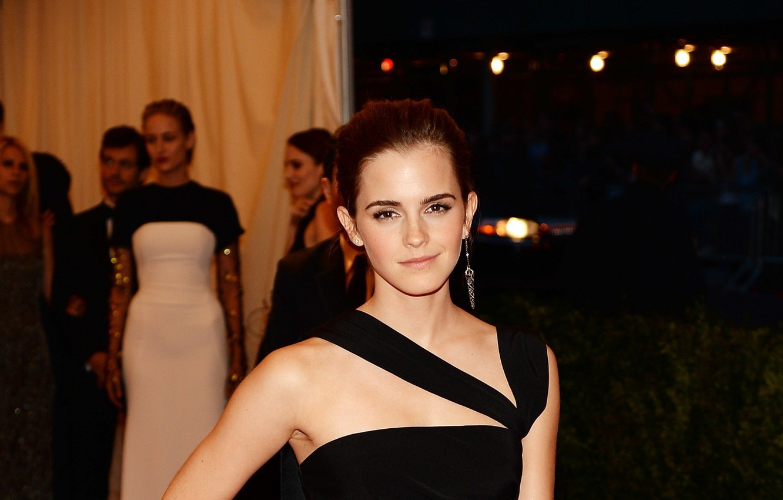 Photo wallpaper black, dress, actress, Emma Watson, EMMA WATSON