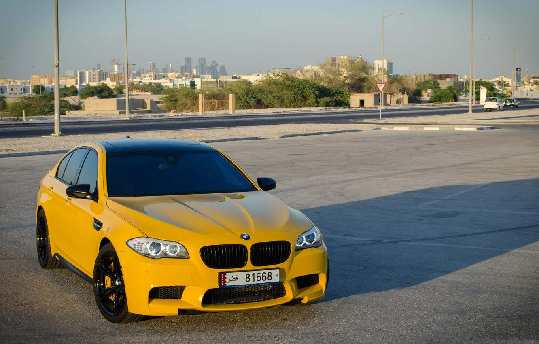 Photo wallpaper the sky, yellow, bmw, BMW, shadow, yellow, f10