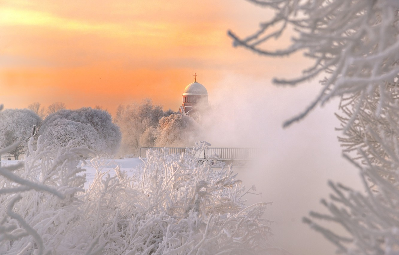 Photo wallpaper winter, frost, branches, Peter, temple, Russia