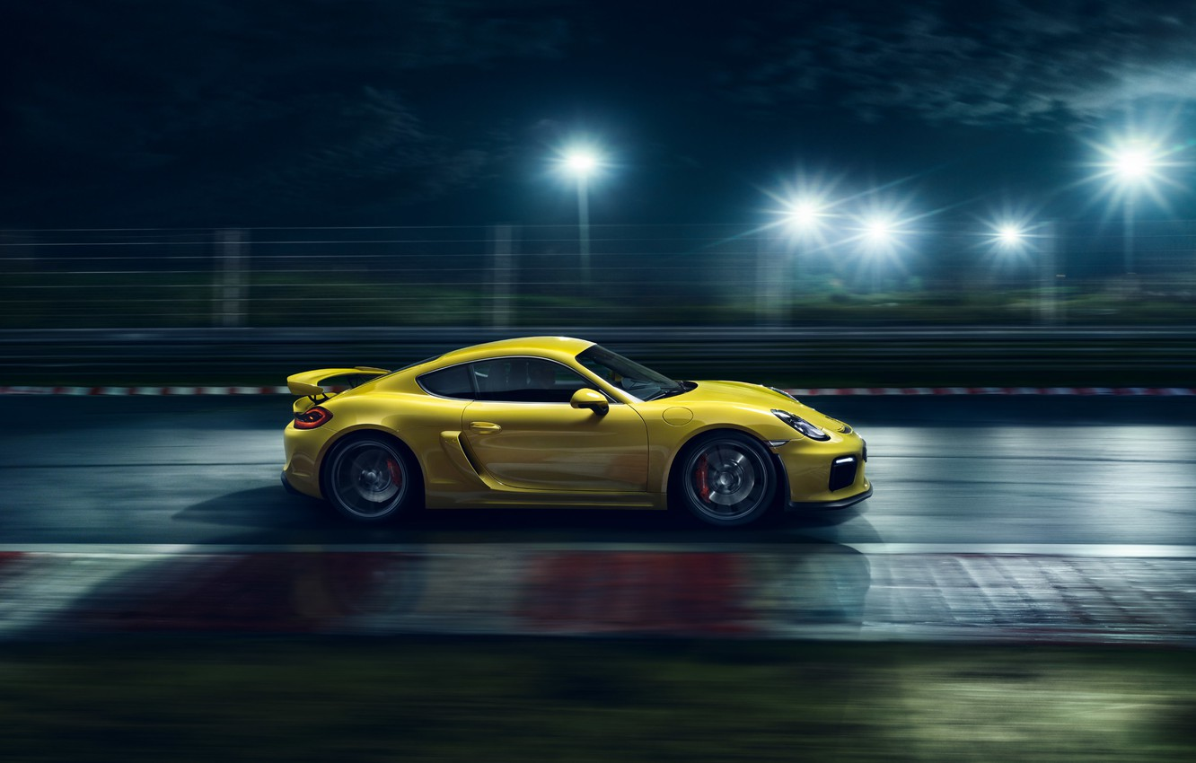Photo wallpaper Porsche, Cayman, Speed, Yellow, Side, Supercar, Track, GT4, 2015, Ligth, Nigth