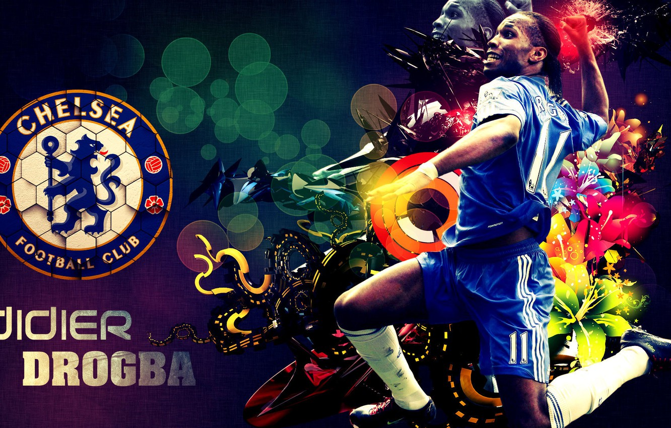 Photo wallpaper joy, player, Chelsea, Didier Drogba, Didier Drogba