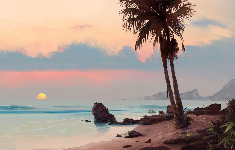 Photo wallpaper sea, sunset, Palma, stones, art