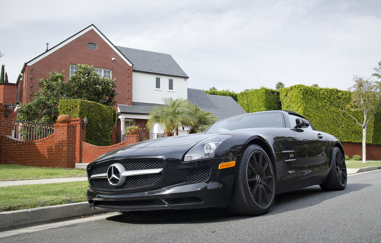 Photo wallpaper Roadster, Mercedes-Benz, AMG, Black, SLS