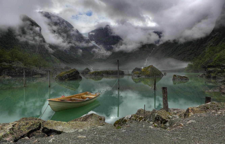 Photo wallpaper mountains, fog, lake, boat, Norway, Lake, Bondhus