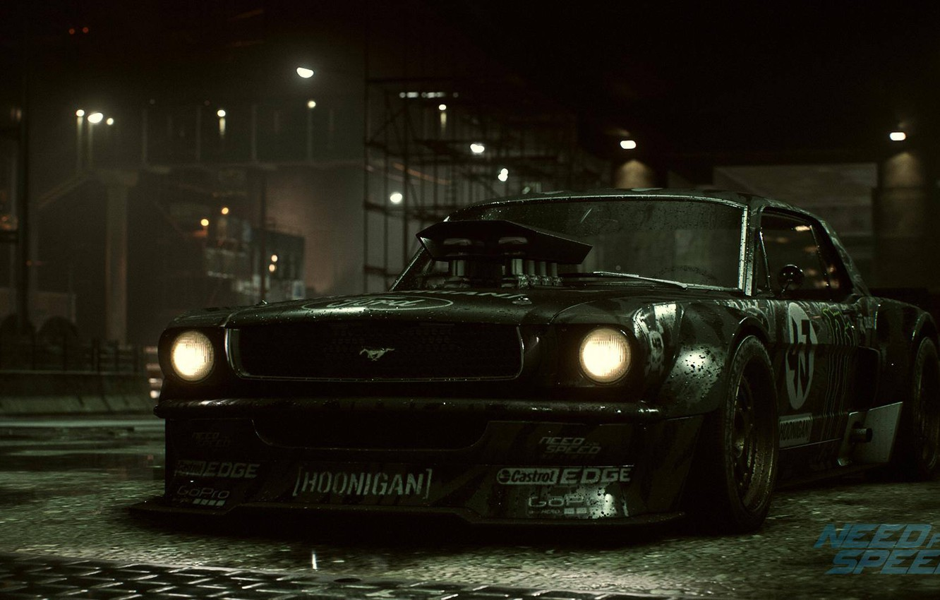 Photo wallpaper Mustang, Ford, Need for Speed, 1965, RTR, Ken Block, Game, 2015, Hoonicorn