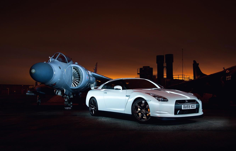 Photo wallpaper white, sunset, excerpt, GTR, Nissan, the airfield, aircraft, Godzilla, R35