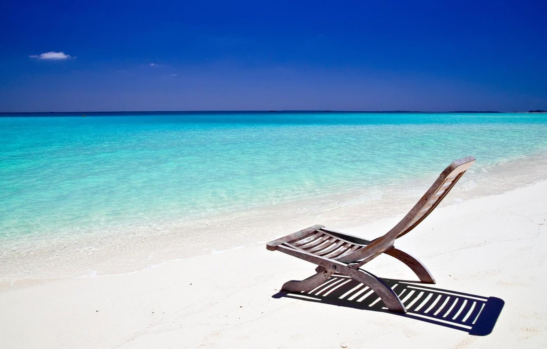 Photo wallpaper sand, beach, the sky, the ocean, shore, chaise, Cote d'azur