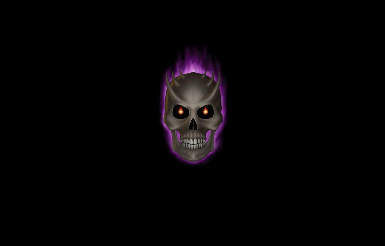 Photo wallpaper skull, minimalism, skeleton, black background