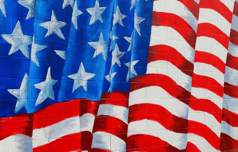 Photo wallpaper wall, texture, flag, america, usa