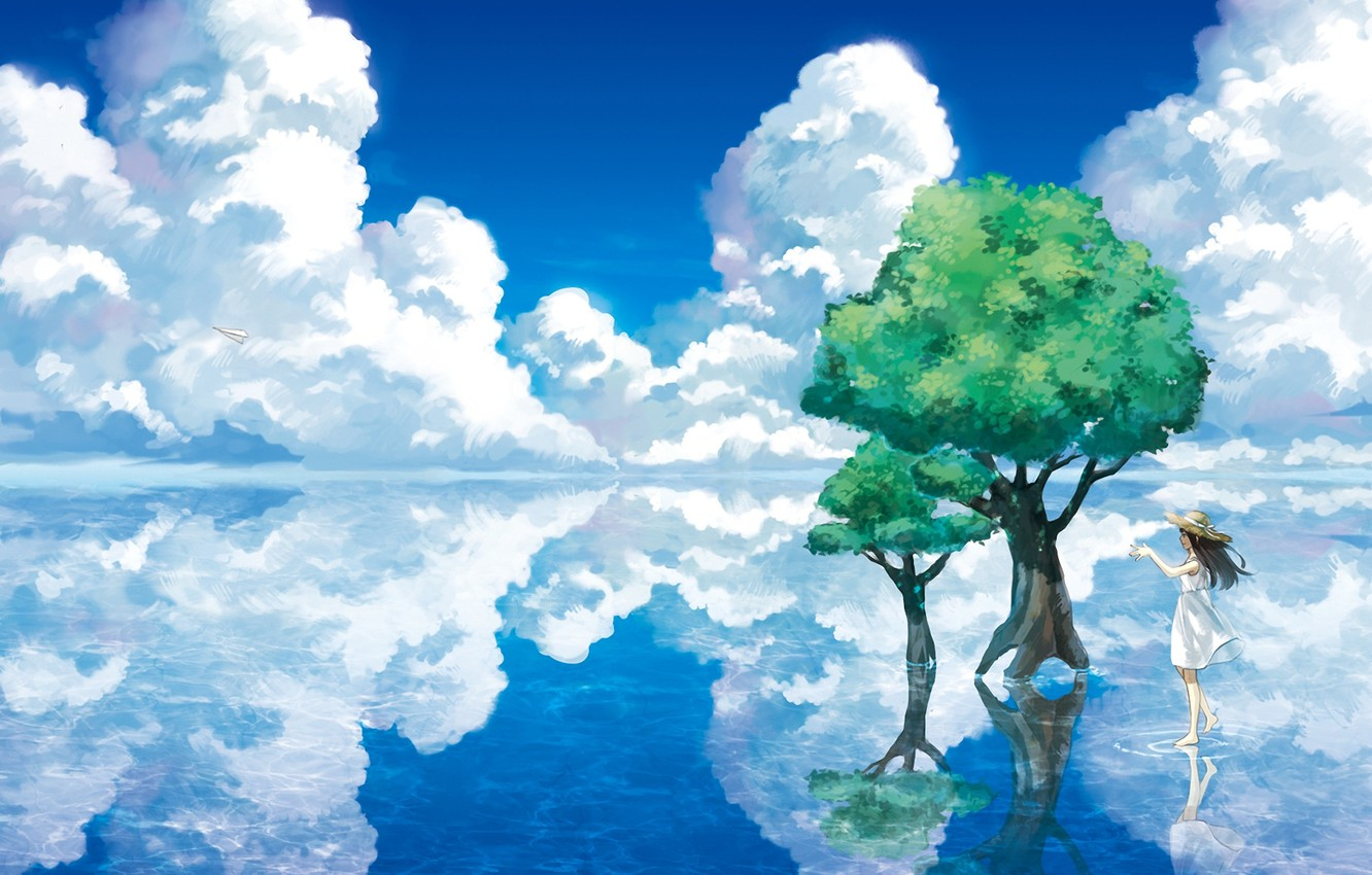 Photo wallpaper water, clouds, trees, landscape, lake, reflection, hat, art, girl, paper airplane