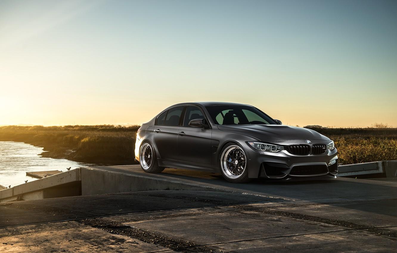 Photo wallpaper BMW, Sky, Carbon, Front, Black, Sun, Matte, F80, Mode