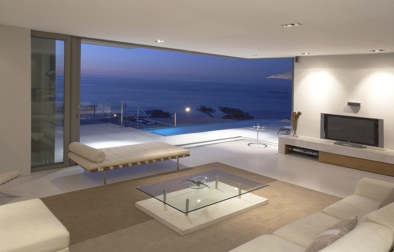 Photo wallpaper sea, landscape, table, room, the ocean, Wallpaper, interior, TV, wallpaper, balcony, penthouse, apartment, sofas, penthouse, …