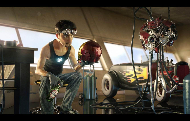 Photo wallpaper Iron Man, suit, pearls, pixar style