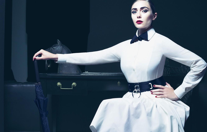 Photo wallpaper look, style, white, model, umbrella, makeup, dress, actress, hairstyle, photographer, journal, Vogue, Elizabeth Olsen, Elizabeth …