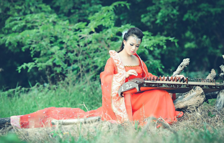 Photo wallpaper girl, music, Asian, instrument