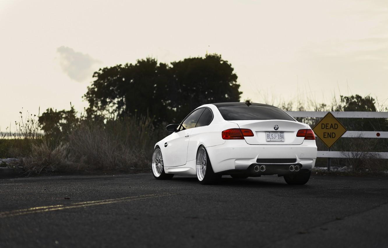 Photo wallpaper road, white, bmw, BMW, white, stalled, back, e92